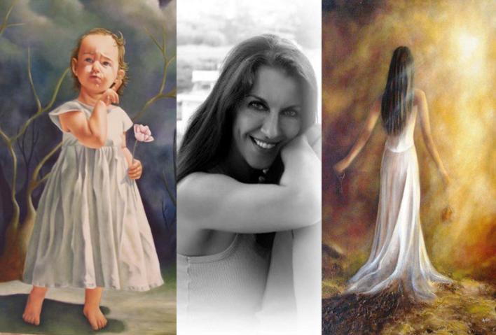 Πρόκειται για μια τριπλή εικόνα που στο κέντρο είναι η ζωγράφος Αγγελική Δρακάκη ενώ αριστερά της βρίσκεται ένας όμορφος πίνακάς της με ένα χαριτωμένο κοριτσάκι και δεξιά της ένας άλλος πίνακας της με μια κοπέλα σαν οπτασία,  έχει γυρισμένη πλάτη ενώ τη λούζει ένα απαλό φως.